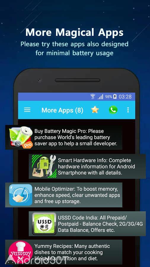 دانلود Battery Magic Pro 1.5.33 – برنامه بهینه سازی و مانیتورینگ باتری اندروید