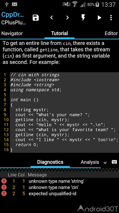 دانلود CppDroid – C/C++ IDE 3.3.2 – برنامه یادگیری کدنویسی اندروید
