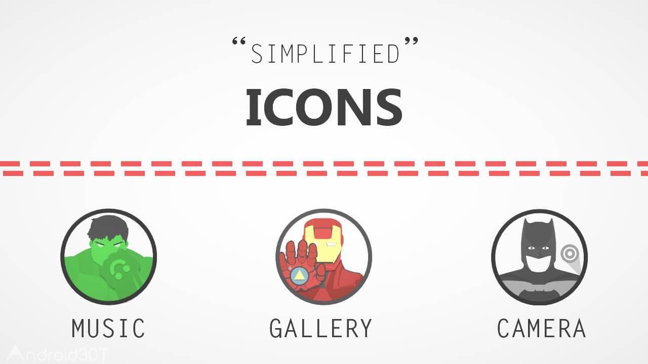 دانلود 1.5 The Superhero-Icon Pack/Theme – مجموعه آیکون های کارتونی اندروید