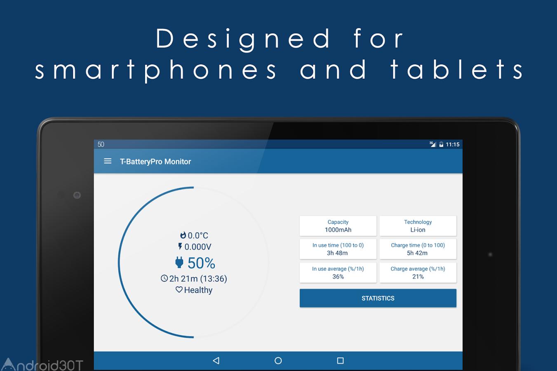 دانلود T Battery Monitor 3.22 – برنامه نمایش جزئیات مصرف باتری در اندروید
