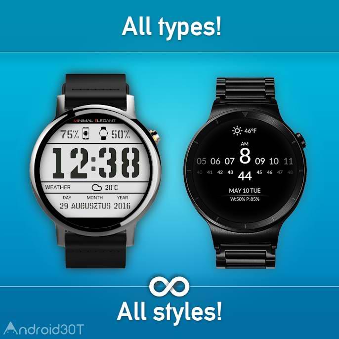 دانلود Watch Face Minimal & Elegant 3.8.5.050 – برنامه ساعت های هوشمند اندروید
