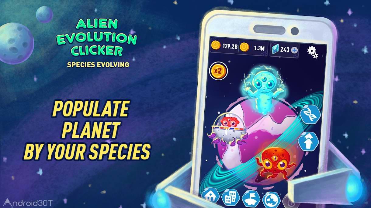 دانلود Alien Evolution Clicker: Species Evolving 1.0.19 – بازی سرگرم کننده اندروید