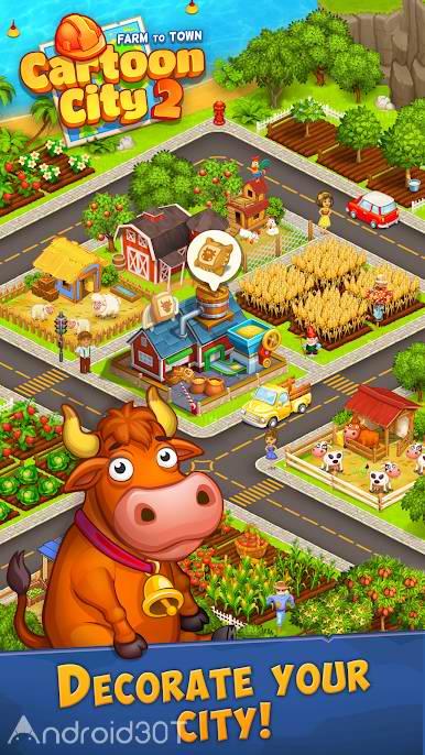 دانلود Cartoon City 2 Farm to Town.Build 1.78 – بازی شهر کارتونی 2 اندروید