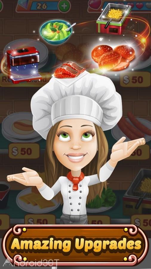 دانلود Food Court Fever: Hamburger 3 v2.7.3 – بازی بدون دیتای سرآشپزی اندروید