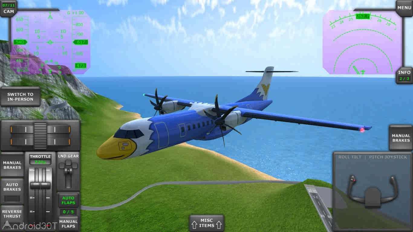 دانلود Turboprop Flight Simulator 3D v1.19b – بازی شبیه ساز هواپیما اندروید