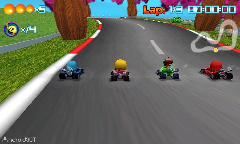 دانلود PAC-MAN Kart Rally by Namco 1.3.5 – بازی کم حجم رالی پک من اندروید