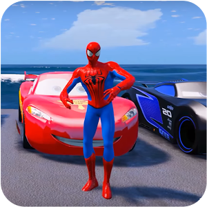 دانلود Superheroes Car Stunt Racing Games 1.0 - بازی هیجان انگیز مک کویین اندروید